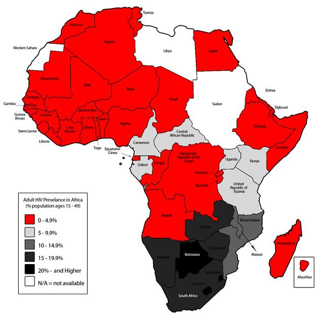Le VIH dans les pays d'Afrique