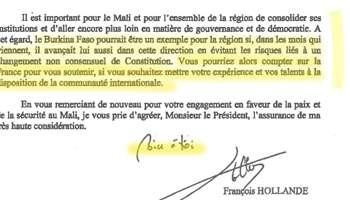 La lettre de François Hollande à Blaise Compaoré
