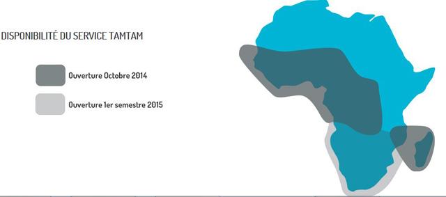 La couverture du réseau Tam Tam en Afrique