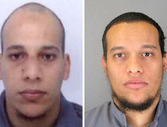 Les frères Kouachi, Said et Cherif, auteurs de l'attaque terroriste contre Charlie Hebdo à Paris qui a fait plus de 12 morts