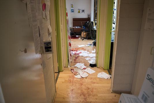 Les bureaux dévastés de Charlie Hebdo ou à eu lieu l'attenta sanglant des frères Kouachi Said et Chérif