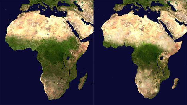 Une comparaison cartographique entre l'Afrique de 2015 et celle de 3015