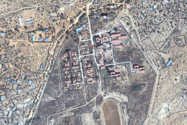 Image Google Earth de l'université de Garissa au Kenya