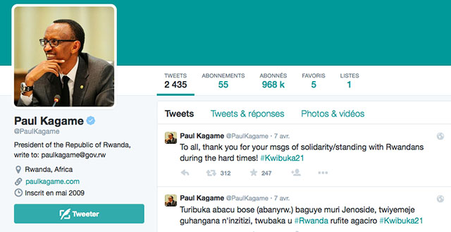 Paul Kagamé sur Twitter c'est 970 000 followers