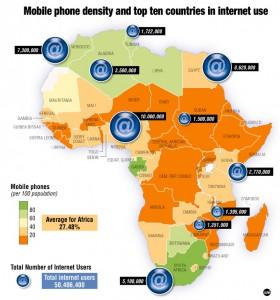 Pénétration Internet et Mobiles dans les pays d'Afrique