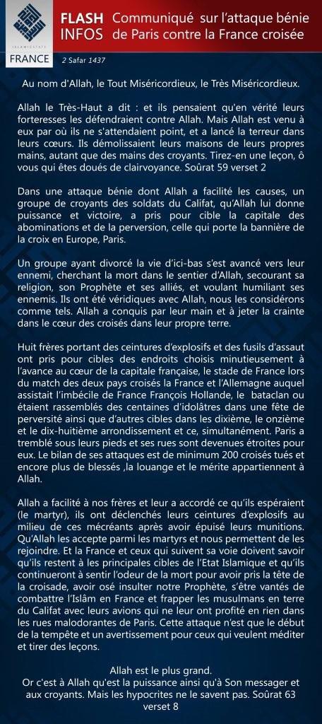 Le communiqué de DAESH de revendication des attentats terroristes de Paris