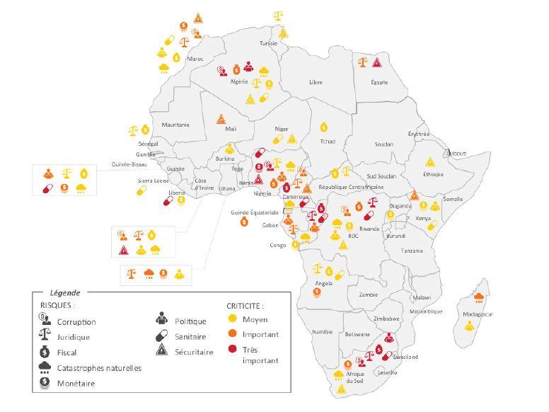 """La carte des risques en Afrique selon Bearing point dans l'étude """"une Afrique, des Afriques"""""""