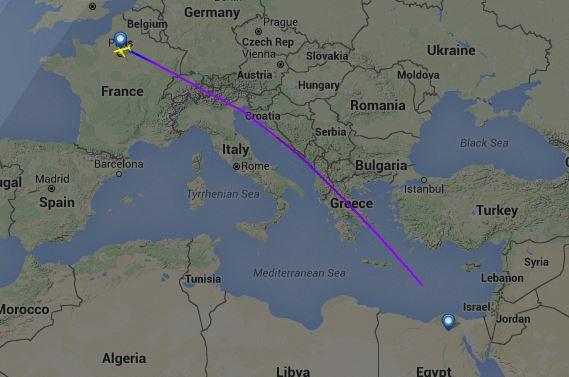 L'endroit ou le vol MS804 d'EgyptAir se serait écrasé en méditérranée