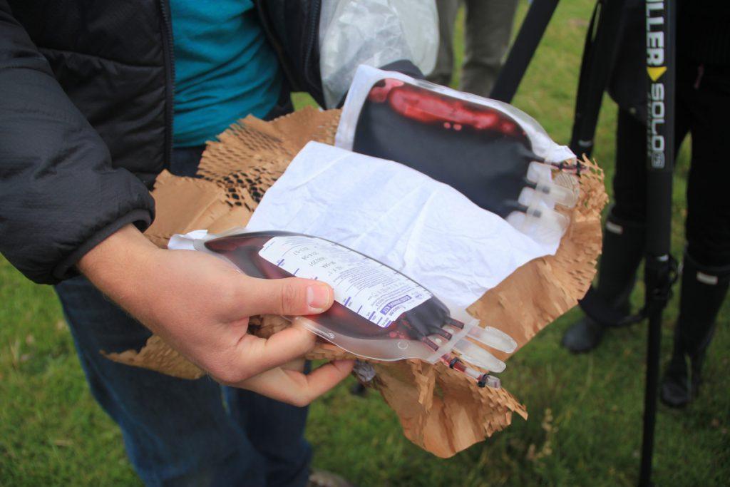 Une pochette de sang arrivée à destination par le drone Zipline au Rwanda