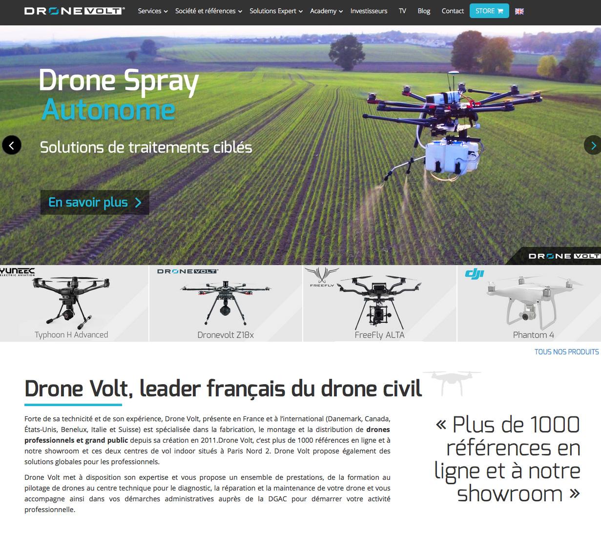 La société roneVolt propose de nombreuses applications, de la formation jusqu'à la fourniture de drones maison et le développement d'application de gestion de vol
