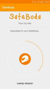 Screenshot de l'application Safe Boda