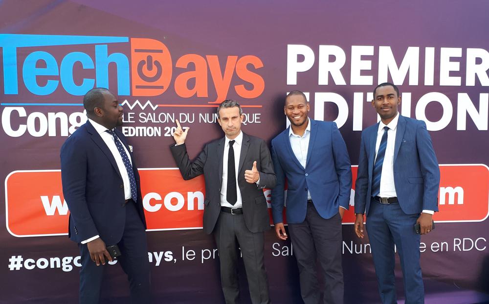 Yannick Mbiya de la Trust Merchant Bank - Thierry Barbaut d'Info Afrique - Ruddy Mukwamu de Maci Cash - Bonny Maya de eMart.cd aux Congo TechDays de Lubumbashi en RDC