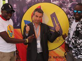 Cedrick Kikudi et Bouly Bwabwa les fondateur de Wango Musik avec Thierry Barbaut lors des Congo TechDays de Lubumbashi.