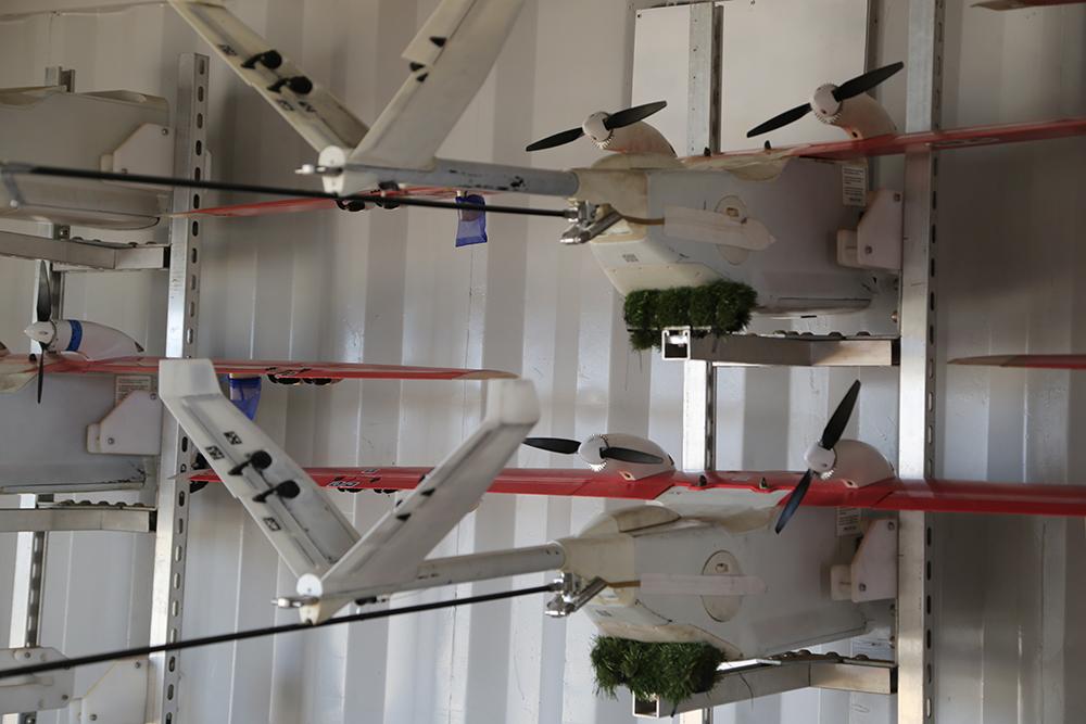 Le container permet le stockage des drones Zipline