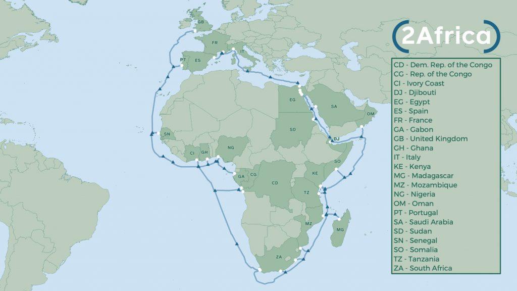 2Africa est l'un des projets sous-marins les plus importants au monde, reliant 23 pays d'Afrique, du Moyen-Orient et d'Europe