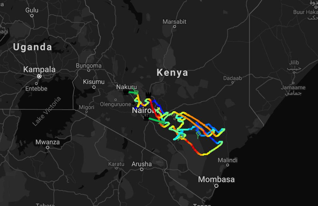 Le parcours des es ballons Loon d'Alphabet pour desservir la zone à connecter au Kenya