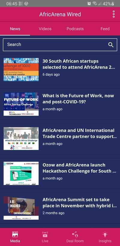 Capture d'écran de l'application Africarena Wired